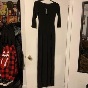 Boohoo Black 3/4 Sleeve Maxi Dress S NWT